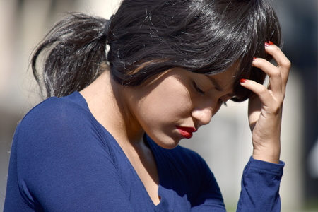 Depressed Attractive Female Woman Wearing A Wig Stock Photo