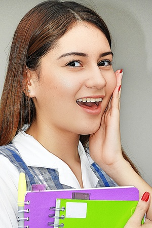 Surprised Girl Student Stock Photo