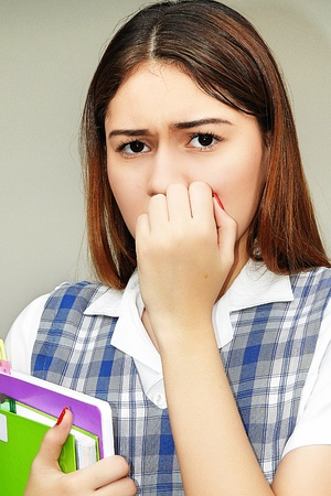 Girl Student And Fear Stock Photo