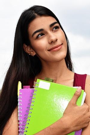 Minority Girl Student Wondering