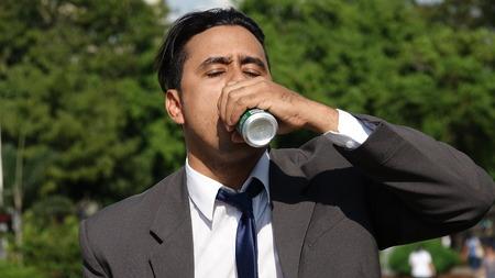 Hispanic Business Man Beer Drinker
