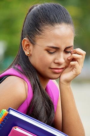 Sad Teenager School Girl Archivio Fotografico