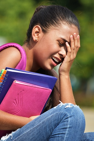 Crying Cute Teen Female Student Stock Photo