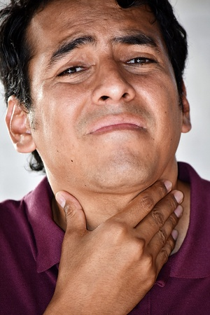 Male With Sore Throat Banco de Imagens