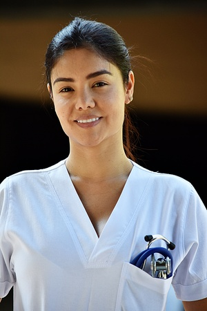 Smiling Young Colombian Female Nurse