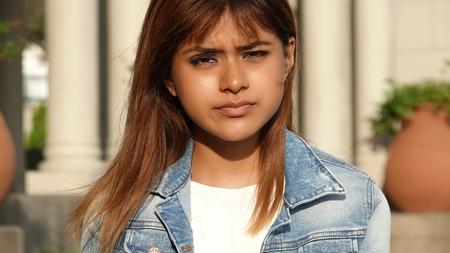Youthful Peruvian Girl And Hopelessness Stock fotó