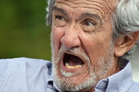 Mad Male Grandpa Stock Photo