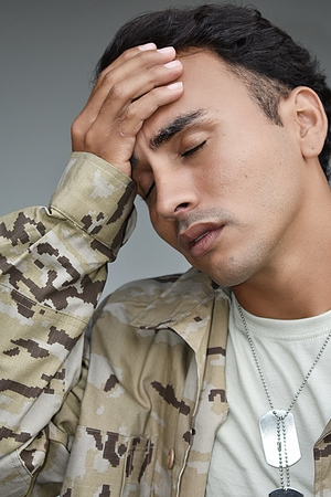 Anxious Male Soldier