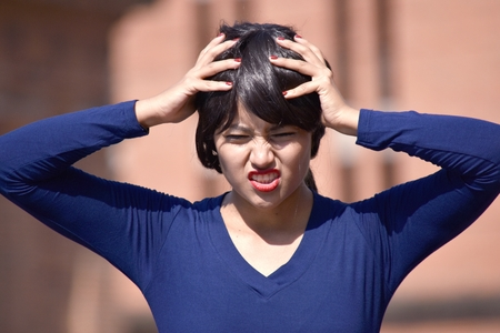 Stressful Female Woman Wearing A Wig