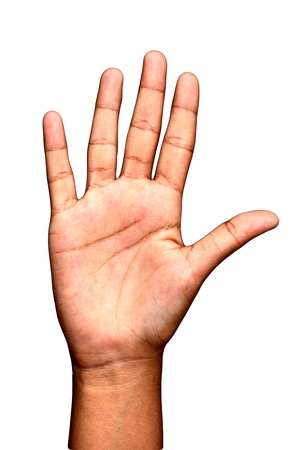 Teen Girl Hand Counting Five Or Stop