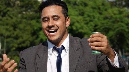 Alcoholic Latino Business Man Stock Photo