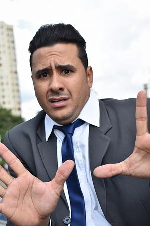 Fearful Business Man Stock Photo