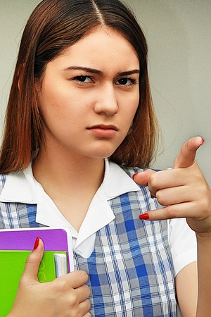Female Student And Anger Stock Photo