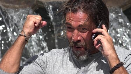 Caucasian Male Talking On Phone