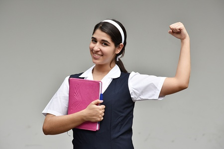Teen School Girl Flexing Bicep Muscle