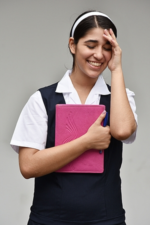 Shy Student Teenager School Girl Stock Photo