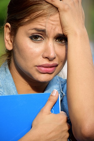 Adult Female Student And Stress Stock Photo