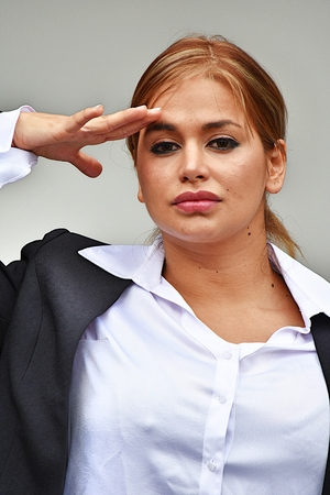 Civilian Woman Saluting