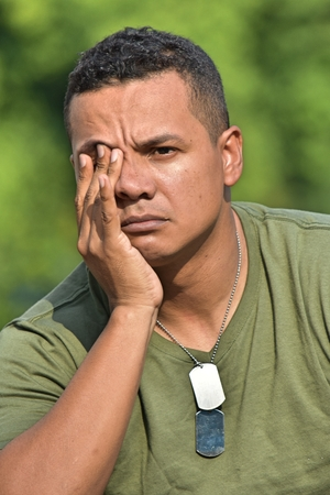 Colombian Male Soldier Under Stress Stock Photo