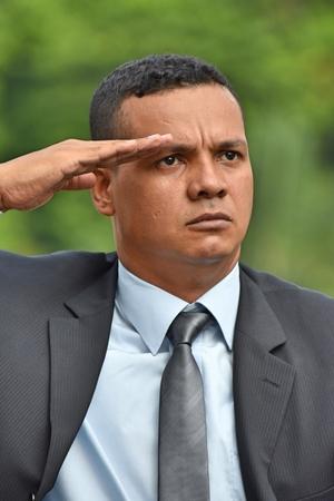 Groeten civiele zakenman of veteraan Stockfoto