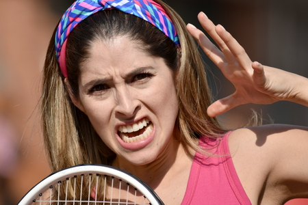 Scary Athlete Colombian Person Wearing Sportswear With Tennis Racket