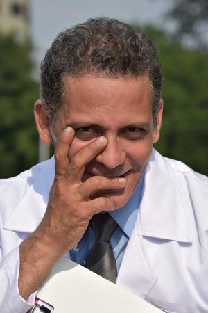 Shy Male Doctor Wearing Lab Coat