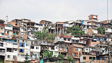Houses In Poor Colombian Barrio Editorial