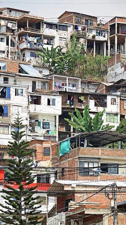 Poor Housing Colombian Barrio Stock Photo