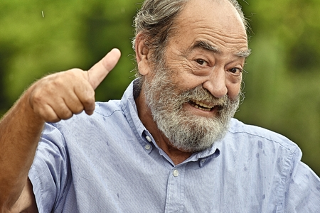 Bearded Old Male With Thumbs Up