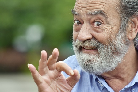 Bearded Old Male with OK gesture