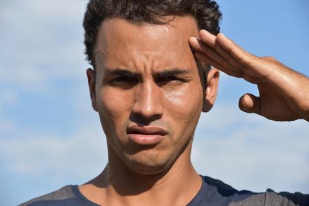 Latino Male Saluting