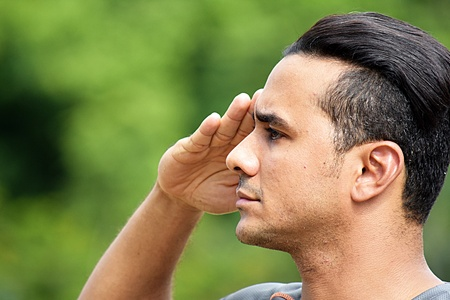 Civilian Adult Hispanic Male Saluting