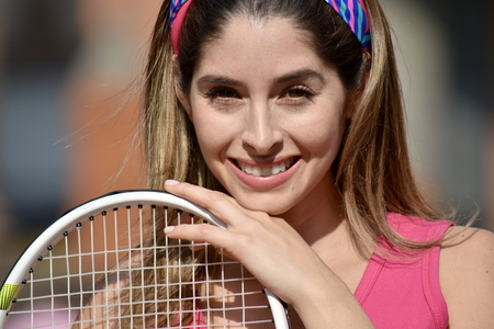 Athlete Colombian Female Tennis Player And Happiness Stock Photo