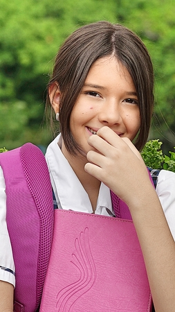 Diverse Girl Student And Shyness