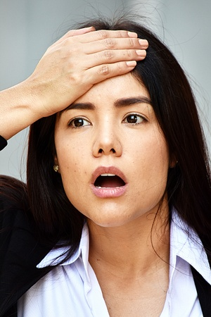 Business Woman Memory Problems Wearing Suit Stock Photo