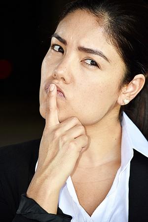 Minority Business Woman Deciding Wearing Suit Stock Photo