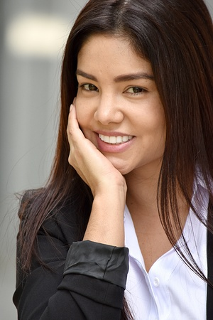 Smiling Diverse Business Woman Wearing Suit