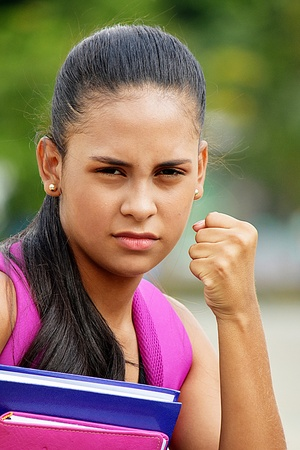 Angry Cute Female Student Stock Photo