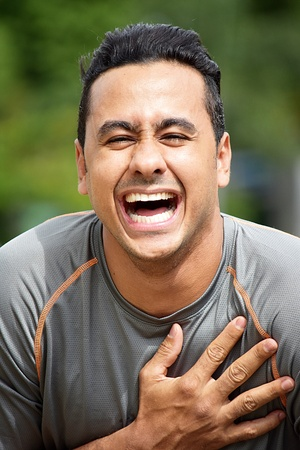 Adult Male Athlete Laughing Stock Photo