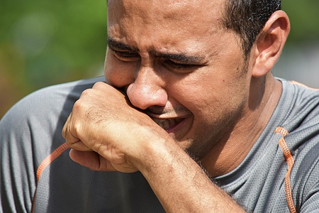 Crying Adult Male Athlete Stock Photo