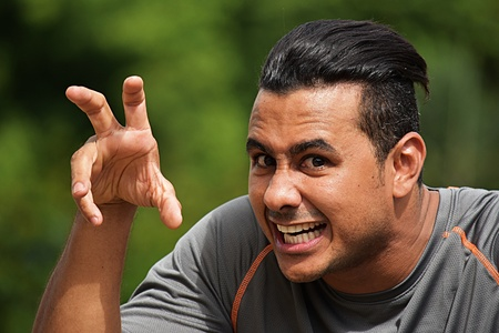 Scary Adult Male Athlete Stock Photo