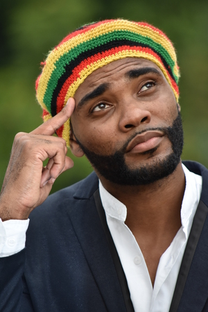 Adult Black Jamaican Man Thinking