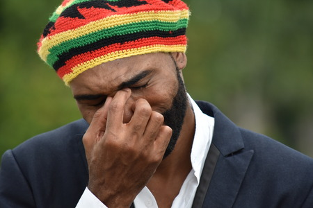 Crying Adult Black Jamaican Man Banque d'images