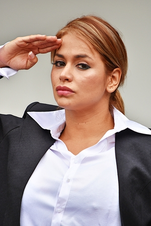 Civilian Adult Female Saluting