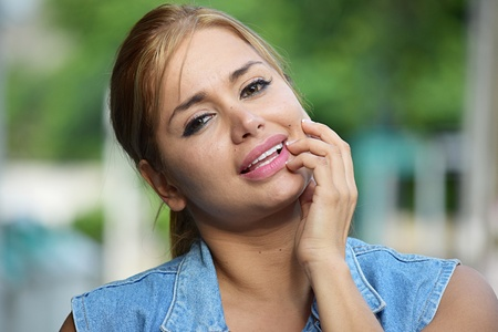 Contemplative Young Female Woman Stock Photo