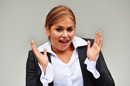 Surprised Pretty Business Woman Wearing Suit