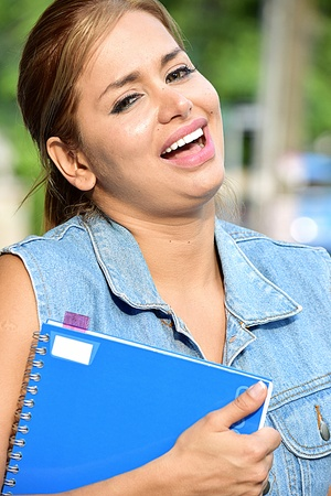 Adult Female Student Laughing