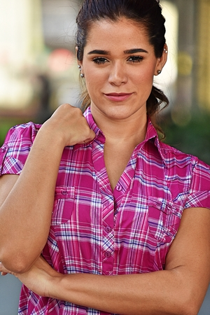 Diverse Adult Female And Confidence Wearing Pink Shirt