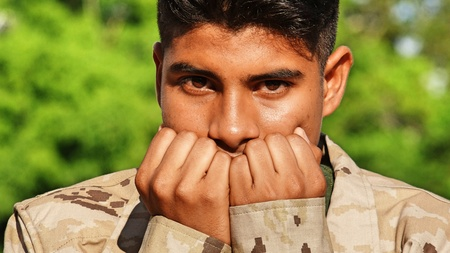 Male Soldier And Fear Stock Photo