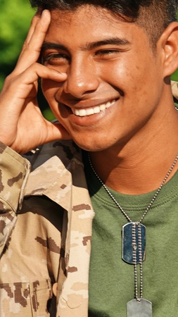 Daydreaming Latino Male Soldier